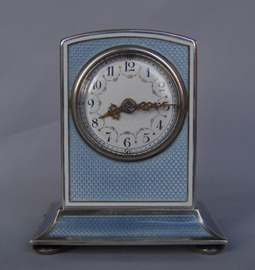 Magnificent silver and grey guilloche enamel large size striking carriage clock.