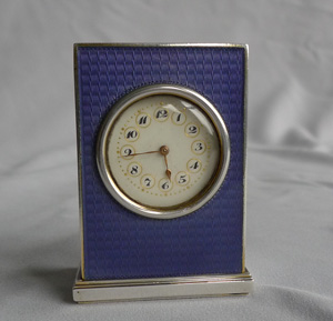 Antique Austrian silver gilt and deep lilac guilloche enamel sub-miniature carriage clock