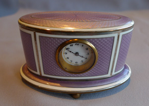 Guilloche enamel clock in lilac and silver.