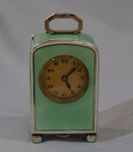 Guilloche enamel and silver sub-miniature carriage clock.