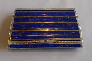 Antique snuff or card case in faux lapis enamel and silver
