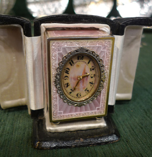 Antique austrian silver, pink guilloche enamel and hand painted portraits.