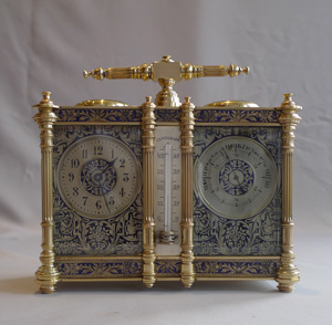 Antique French clock and barometer compendium with blue enamel decoration.