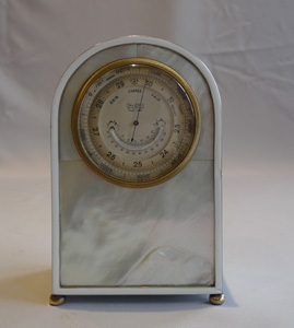 Antique barometer and thermometer in silver gilt, mother of pearl and enamel by Callow of Mount St.