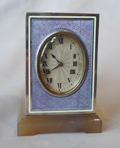 Silver and purple guilloche enamel boudoir clock with Chalcedony base.