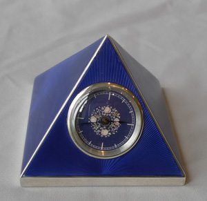 Pyramid guilloche enamel and silver desk clock.