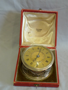 Antique French silver desk clock by Boin-Taburet, Paris, in original case