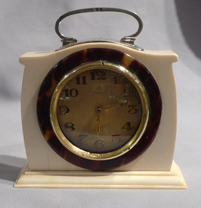 Silver, ivory and tortoiseshell strut or desk clock