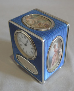Antique rare blue guilloche enamel carriage clock with signed hand painted on ivory oval vignettes