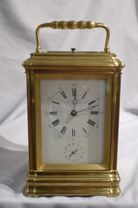 Antique carriage clock strike, repeat and alarm by Leroy & Fils Paris and London.
