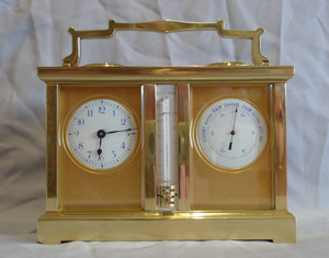 Antique compendium of clock, barometer, thermometer and compass