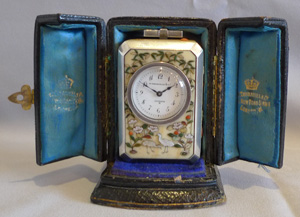 Antique shibayama & silver miniature carriage clock, original carrying case & key,Thornhill, London.