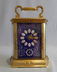 Good French carriage clock with blue enamel dial and strike and alarm function.