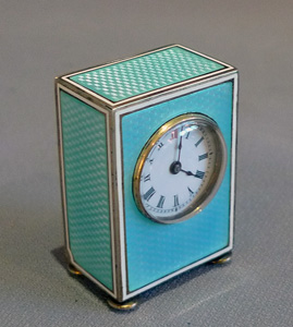 Antique Swiss sub miniature silver gilt  & guilloche enamel carriage clock in original case.