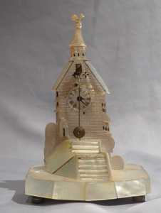 Antique Zapler clock in Mother of pearl in form of a tower.