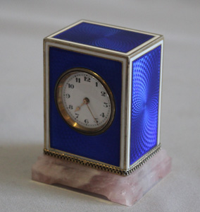 Sub miniature carriage clock, Austrian,  in silver gilt, enamel and rose quartz