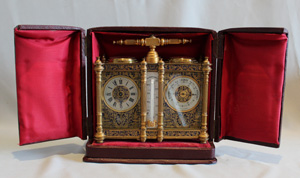 Antique French champleve enamel combined carriage timepiece with barometer, thermometer and compass