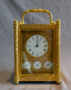 Fine, rare, early form French grand sonnerie carriage clock, alarm and subsidiary calendar dials.