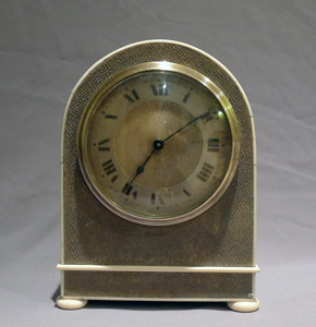Antique English Edwardian Shagreen and ivory mounted mantel clock.