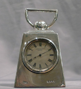 Antique and extremely unusual silver carriage clock in form of a pound weight