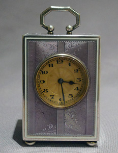 Swiss lilac guilloche enamel and silver sub miniature carriage clock in original travelling case.