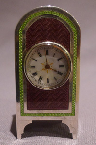Silver and guilloche enamel sub miniature carriage clock