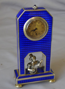 Antique silver and blue guilloche enamel miniature clock with silver bust.