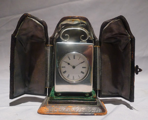Antique English silver miniature carriage clock hallmarked for London 1903.