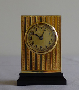 Gold sub miniature carriage clock by Geneva Watch co,.