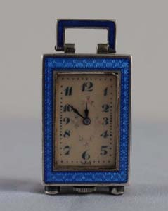 Tiny Art Deco sub miniature silver and blue guilloche enamel Swiss carriage clock.