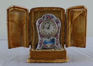 Sub miniature cased silver gilt, guilloche and overlaid enamel carriage clock.