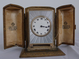 A fine, cased Aspreys Swiss silver and guilloche enamel miniature boudoir clock.
