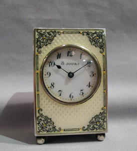 Silver and jewelled and painted cream guilloche enamel sub-miniature carriage clock.