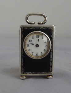 Tiny subminiature silver and enamel carriage clock by Wera, Switzerland.