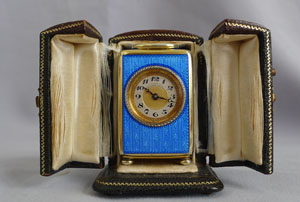 Blue guilloche enamel and silver gilt sub-miniature carriage or boudoir clock, original case and key