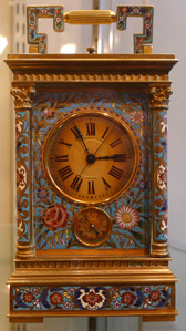 Antique French Repeater cloisonnee enamel carriage clock retailed by P. Kierulff & Co