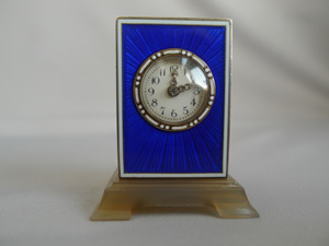 Blue Guilloche Enamel and Silver gilt Sub-Miniature Carriage clock in manner of Cartier