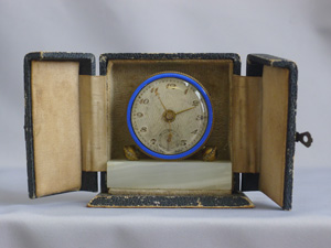 Art Deco Travel Alarm Clock in original leather case