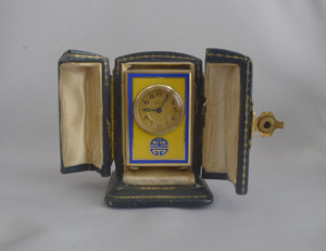 Antique Cartier Silver Gilt, Imperial yellow and blue Guilloche enamel sub miniature carriage Clock