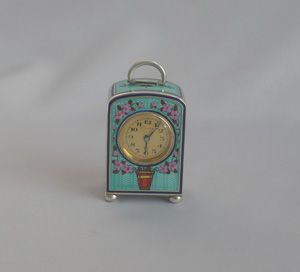 Antique Silver gilt and enamel sub miniature Carriage Clock