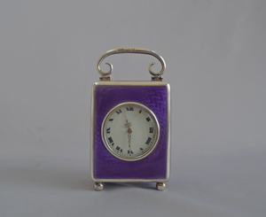Antique Silver and Guilloche enamel Miniature Carriage Clock by the Geneva Clock Company