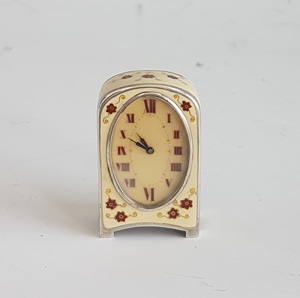 Antique Silver and Enamel Sub Miniature Carriage Clock