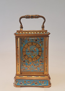 Antique Miniature Champleve Carriage Clock by Drocout