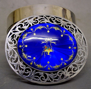 Silver & Enamel Box - Basket Flowers