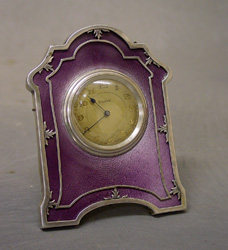 Silver & purple guilloche enamel strut clock