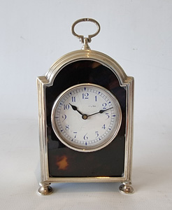 Antique English silver & tortoiseshell carriage clock in form of bracket clock.