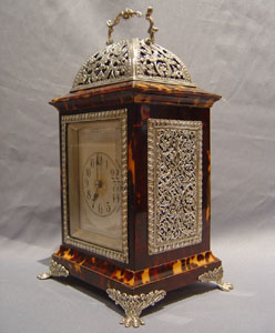Antique English tortoiseshell & silver mounted carriage clock by Louchars.