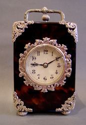 Antique English silver & tortoiseshell mounted carriage clock