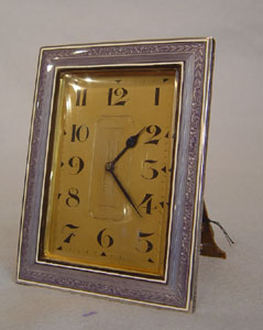English Art Deco silver and mauve guilloche enamel strut or easel clock.