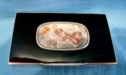 English silver and black enamel box with fine watercolour on ivory to lid.